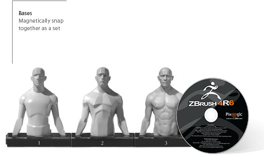 Male Torso 3 Piece Magnetic Set and ZBrush Bundle